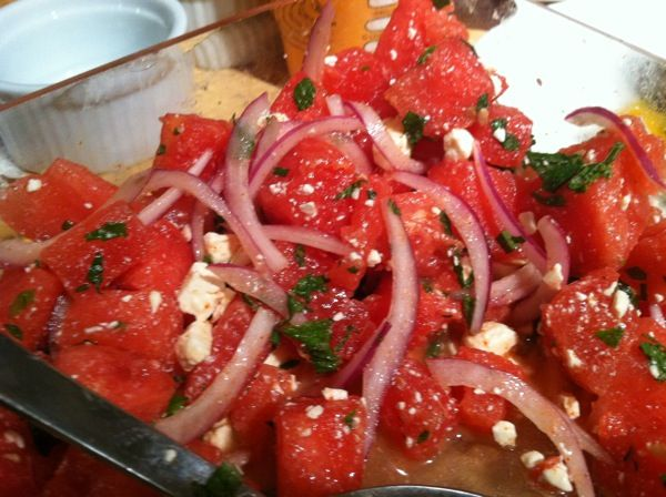 Spicy Watermelon Salad with Feta Salad & Mint