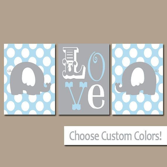 Elephant Wall Art Boy Nursery Canvas Artwork Child Blue LOVE Polka Do