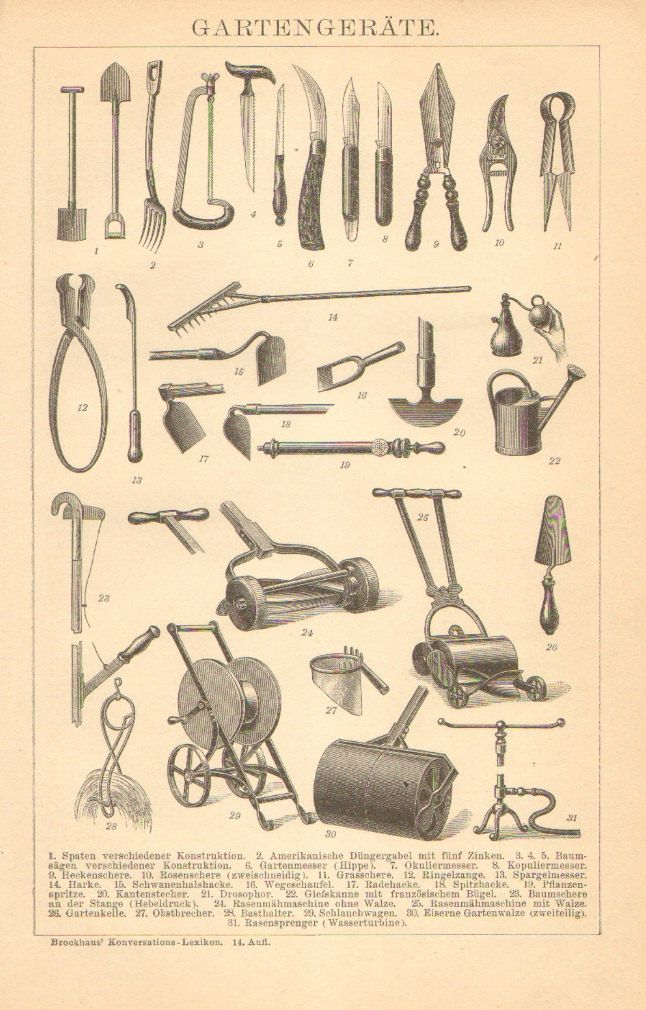 1905 gardening tools antique engraving to frame for Gardening tools 7 letters
