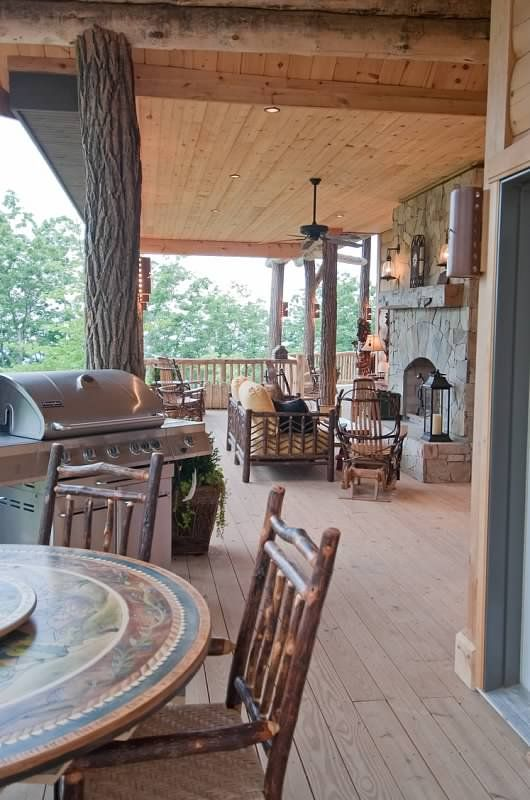 Rustic covered porch for the home pinterest for Rustic covered decks
