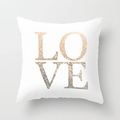 Throw Pillow Love : GOLD LOVE Throw Pillow by Monika Strigel
