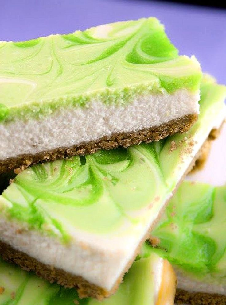 Key Lime Swirl Cheesecake Bars Recipe ~ Yummy!