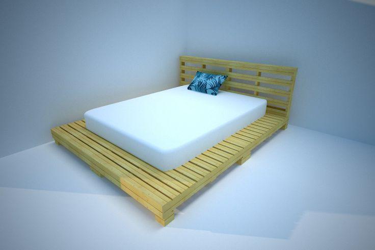 Base de cama con tarima industrial mobiliario pinterest for Base de cama hecha con tarimas