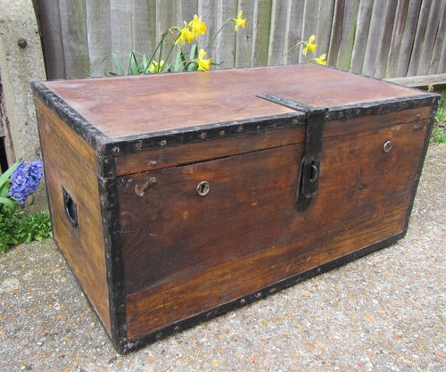 old wooden metal storage trunk box coffee table