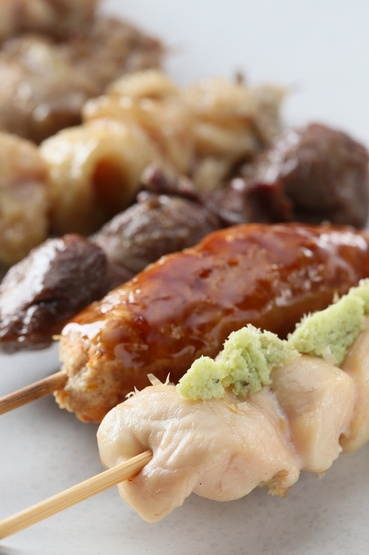 Yakitori, Traditional Japanese Grilled Chicken Skewers, with Wasabi ...