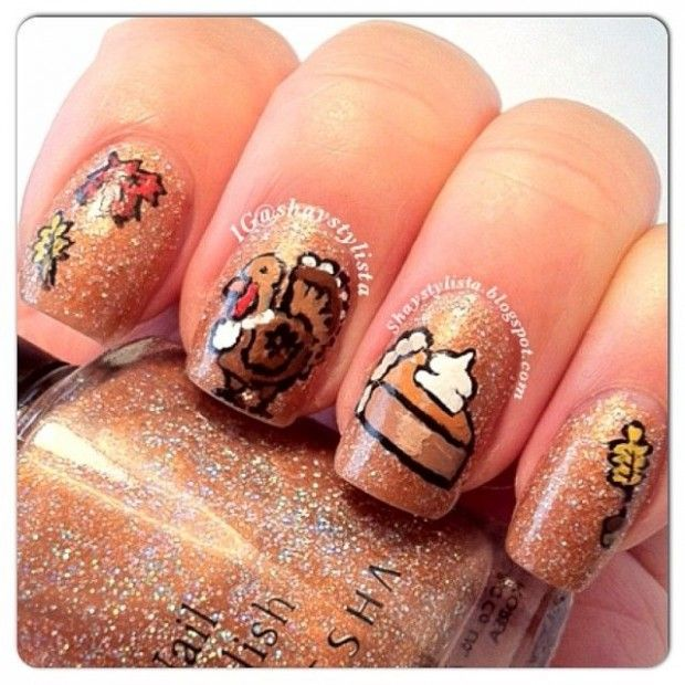 DIY Thanksgiving Autumn Fall Nail Art - 85 Pictures - Snappy Pixels