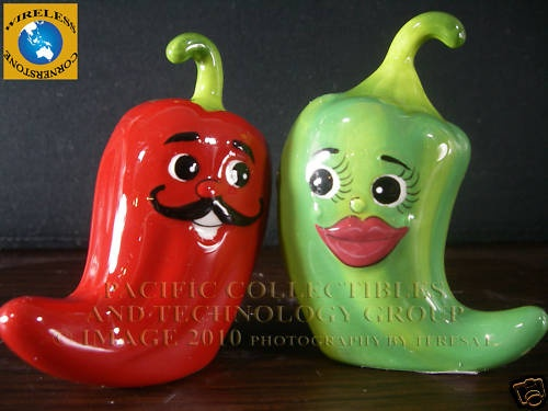 CERAMIC MAGNETIC SALT PEPPER SHAKERS HOT CHILI PEPPERS SPICY HOT ATTRACTIVES   eBay