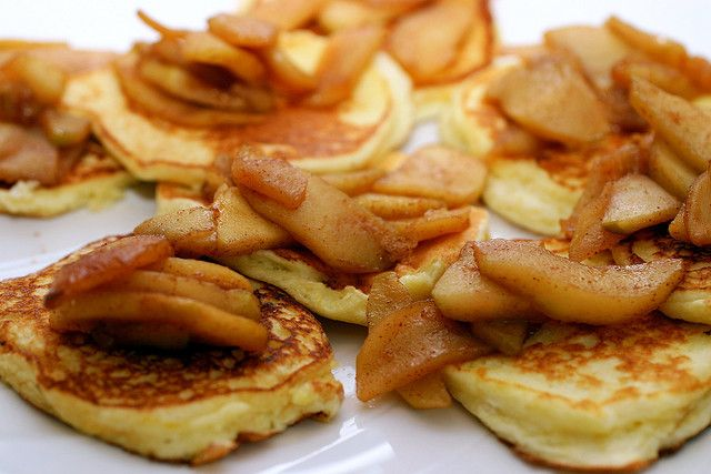 lemon ricotta pancakes with sauteed apples by smitten, via Flickr