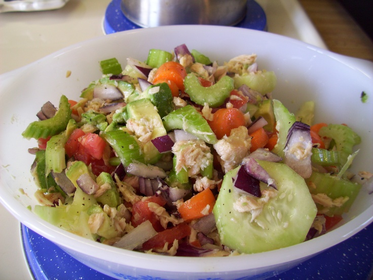 Healthy Tuna Salad:  Slice: 2 stalks celery, 2 carrots, 1 avocado, 1 tomato, 1/2 red onion, 1 can tuna; Dressing:  olive oil, vinegar, minced garlic, salt, pepper