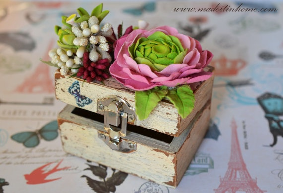 Vintage Wooden Jewerly Box with  pink and violet  by MadeItInHome, $35.00