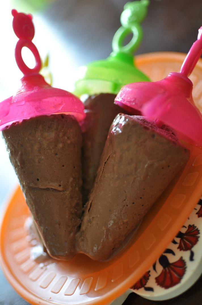 Chocolate Banana ice-cream. Made this using frozen bananas, almond ...