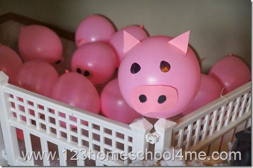 Pig balloons farm crafts for kids pinterest for Animal decoration games