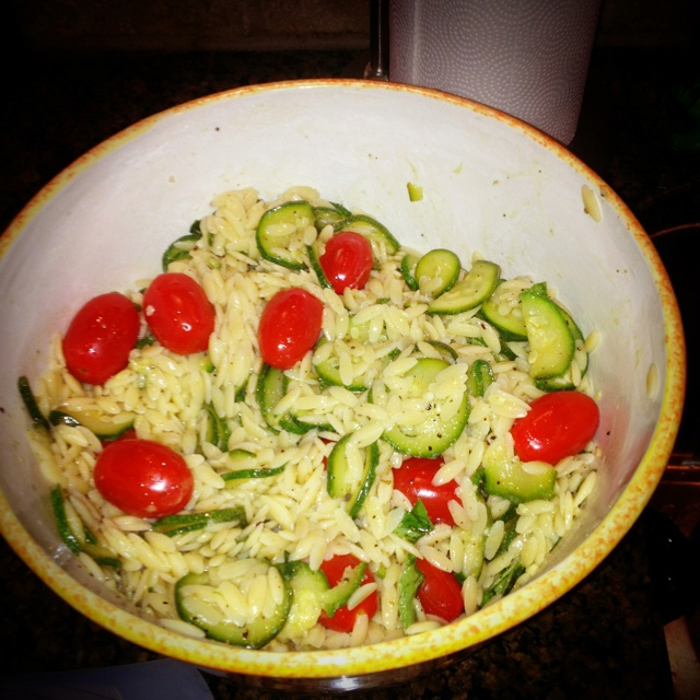 ... this and it's AMAZING!!! Orzo Salad With Zucchini, tomato, and Feta