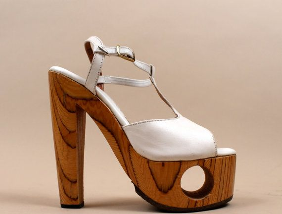 1970s super Rare Leather & Wood Platform Shoes FREDERICKS by nanometer
