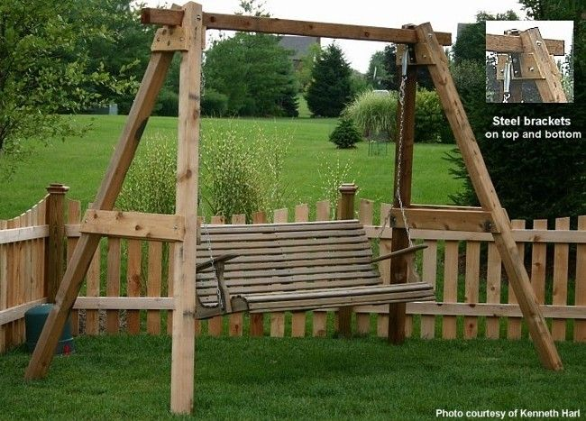 Pin by daisy mcdoodles on d i y projects crafts sewing for Outdoor swing frame plans