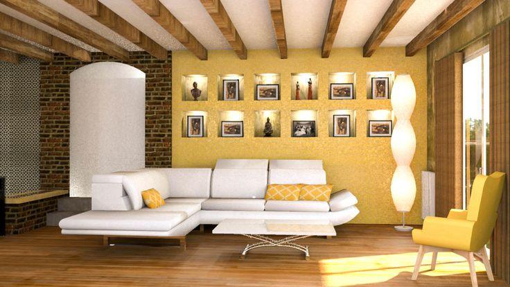 Salon Contemporain Cosy et Chaleureux  Mes Conception 3D  Pinterest