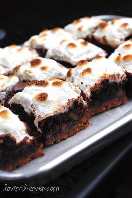 mores Brownies - must try in my Pampered Chef brownie pan!