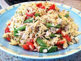 ... Itself: Lemon orzo salad with chicken, feta, and snap peas on arugula
