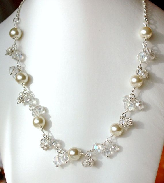 Pearl Wedding Necklace Bridal Jewelry Ivory Pearls And Crystal Weddin