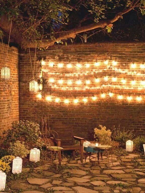 Attach String Lights To Wall : Red brick and wall lights Outdoors & Planting Pinterest