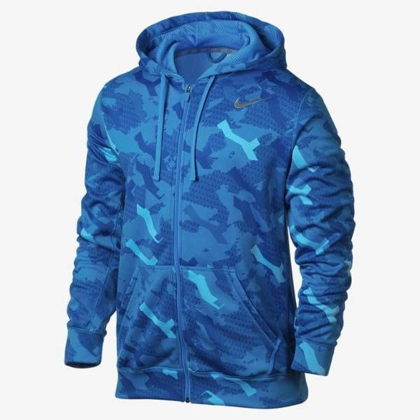 men 39 s size xl nike therma fit ko hoodie jacket camo blue. Black Bedroom Furniture Sets. Home Design Ideas