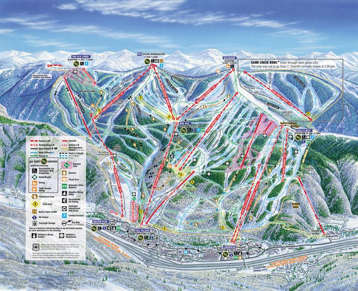 Vail - Trail Map.  I think I have been on every chairlift at least once and chairs 4 and 11:  3,372 times each.