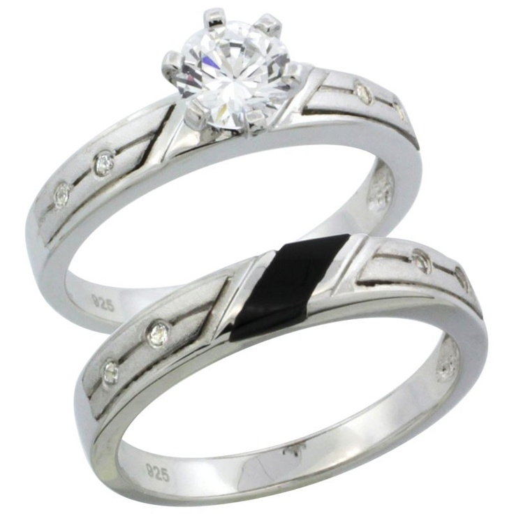 Sterling Silver 2 Piece 1 Carat Size CZ Engagement Ring Set 1 8 in 3 5 mm