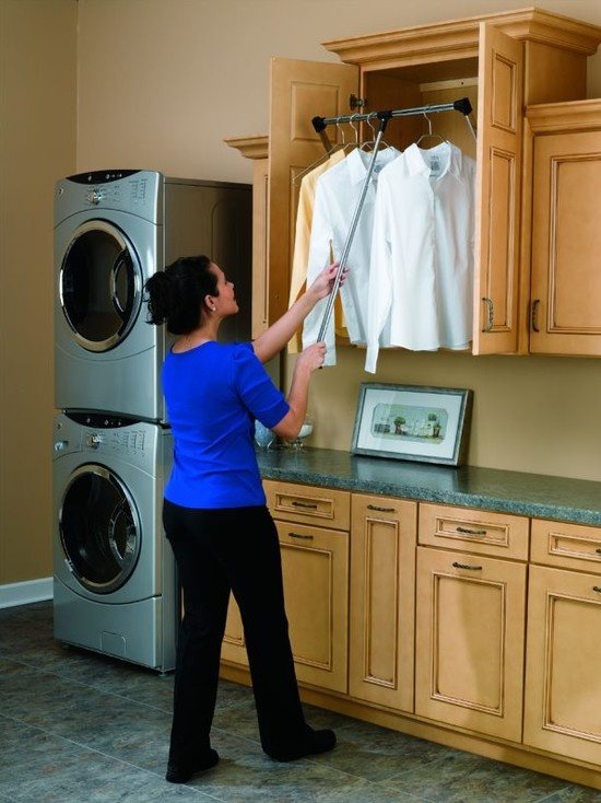 Drop down hanging rack clever home laundry room - Hanging rack for laundry room ...