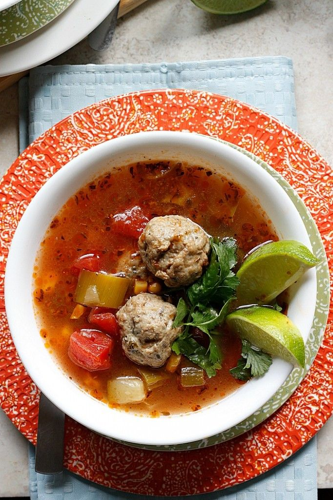 Mexican Meatball Soup ~ Warm and comforting chicken meatball soup ...