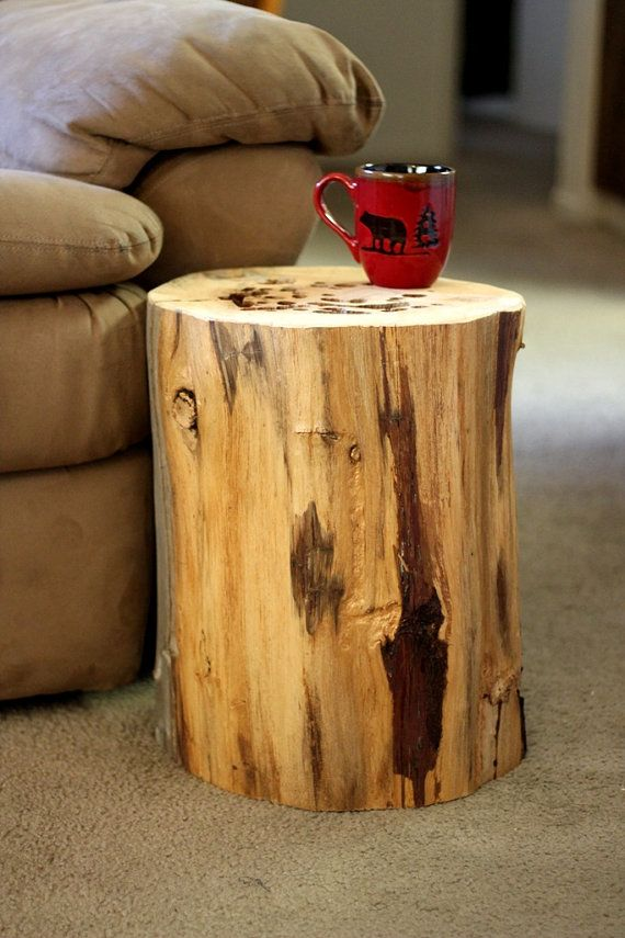 Wood stump table tree stump table reclaimed wood side for Wood stump end table