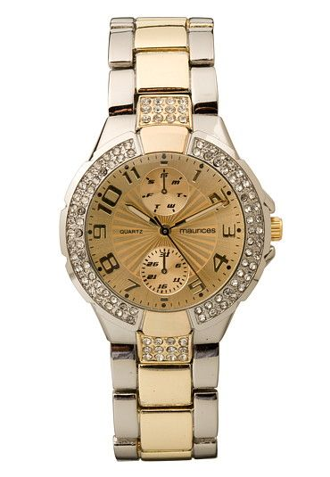 Two Tone Rhinestone Embellished Watch (original price, $20) available at #Maurices