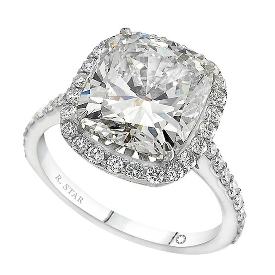 cushion cut halo micro pave engagement rings