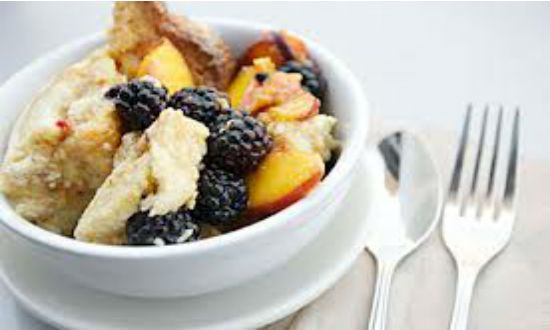 ... Peach & Blackberry Cobbler with Sour Cream Ginger Biscuit Topping