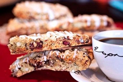 Almond Cranberry Biscotti... yumm!!! Just add some white chocolate ...