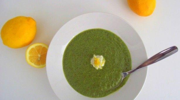Green soup -- broccoli, chard etc -- with Meyer lemon yogurt.