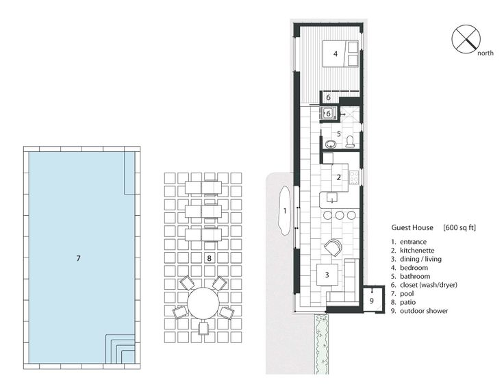 Guest house floor plan playa tacna pinterest for Guest house plans
