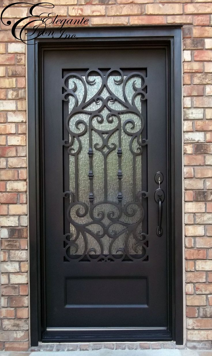 Custom wrought iron door single doors pinterest for Wrought iron entry doors