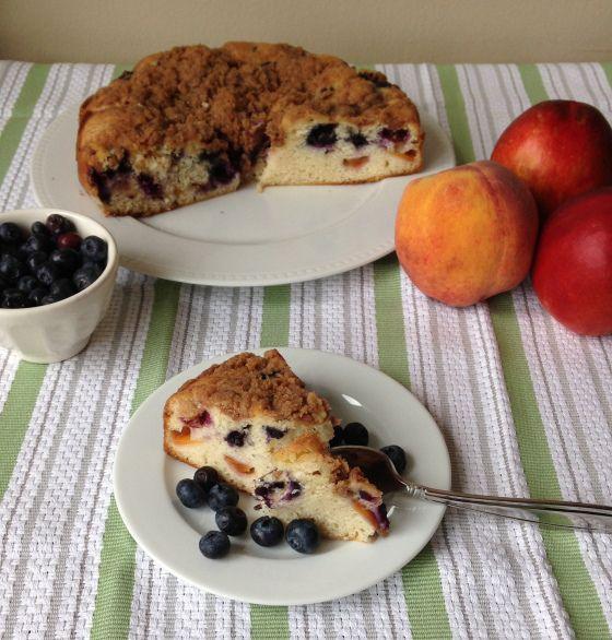 Peachberry Buckle (Peach Blueberry Coffee Cake)