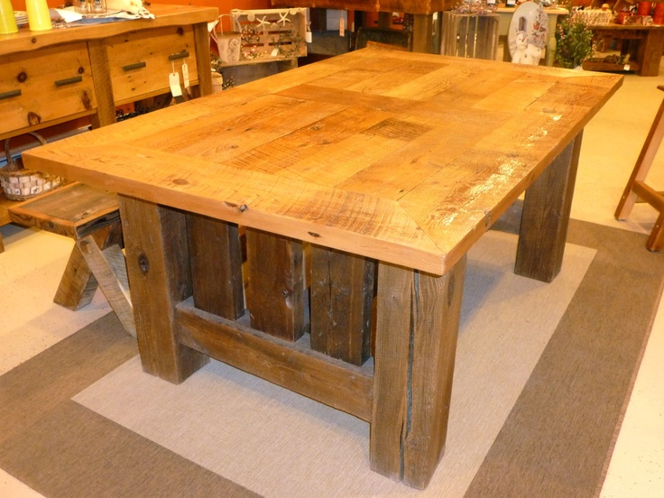 reclaimed barn wood mission style dining room table