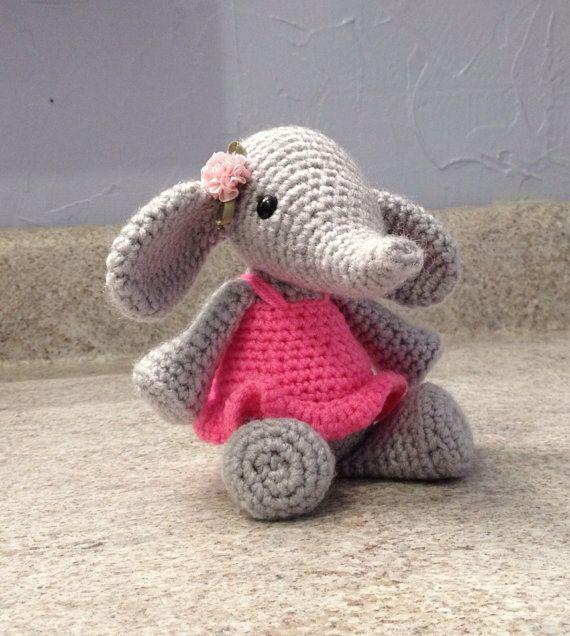 Crocheting Stuffed Animals : Crocheted Elephant Stuffed Animal Amigurumi by meddywv on Etsy, $22.00