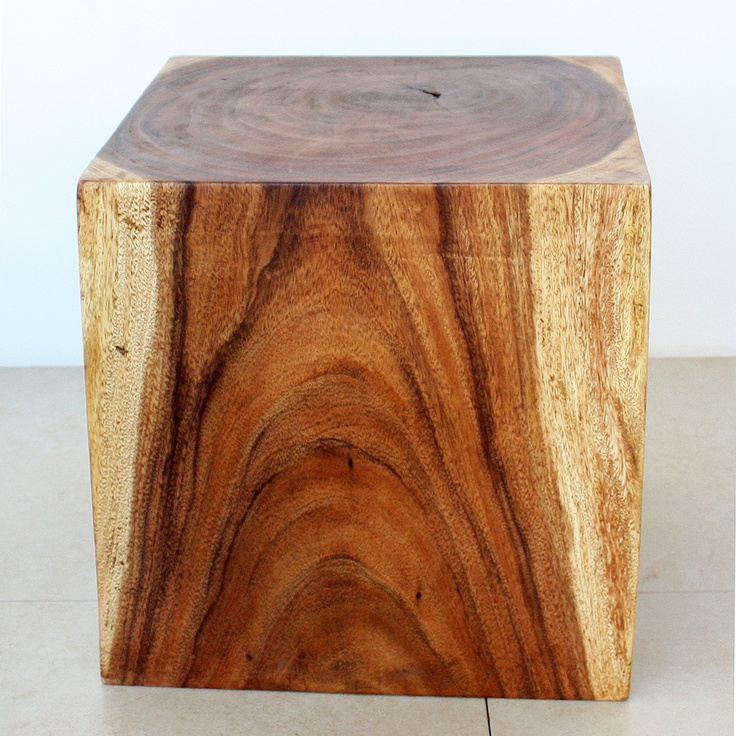 Wooden Cube 18 Walnut Oil End Table Thailand