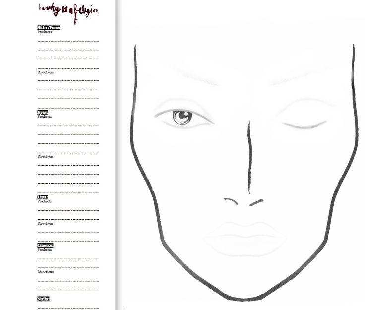 ... Makeup Chart Template By Blank Chart For Makeup Chart ...