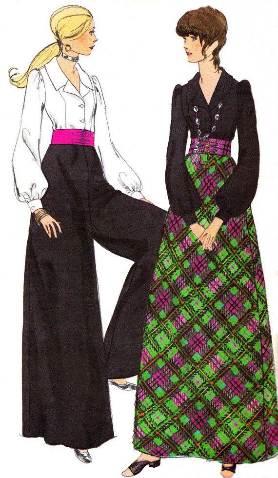 1970s Vogue 7931 Womens Palazzo Pants Maxi Skirt by paneenjerez, $10.00