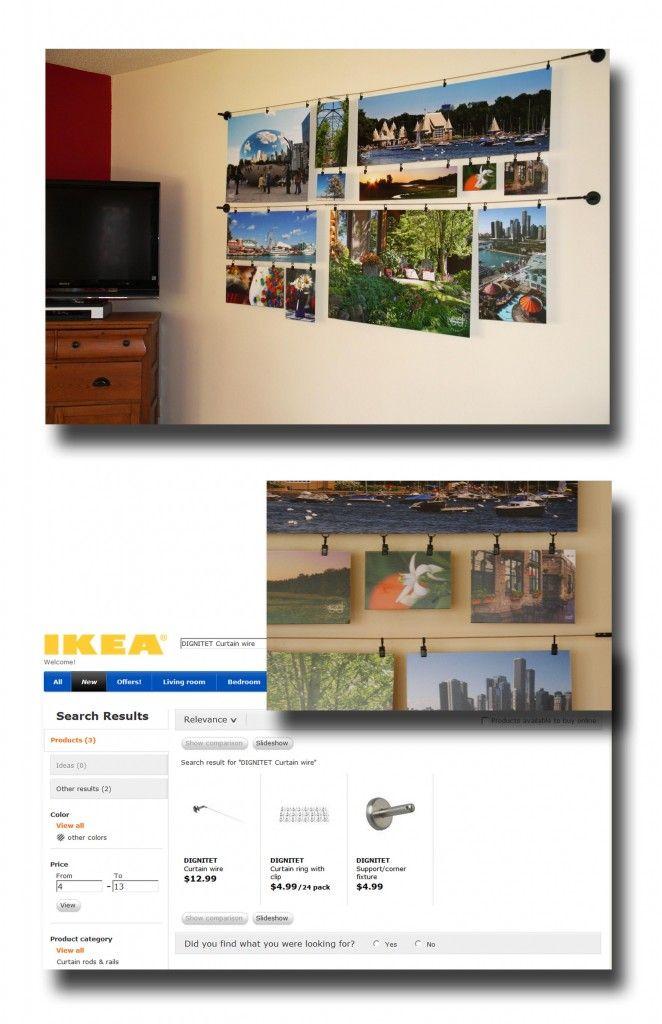 Photo display using ikea curtain wire | Interior Design | Pinterest