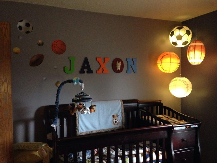 jax 39 s sports themed nursery toddler baby boy room pinterest. Black Bedroom Furniture Sets. Home Design Ideas