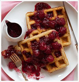 Multigrain Waffles with Raspberry Sauce | Foods I want to try! | Pint ...
