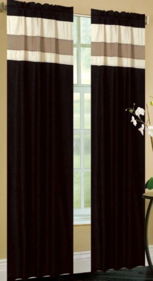 "... Tan Lined Window Panels, 2-pc Set—42"" x 84"" each - Curtains & Drapes"