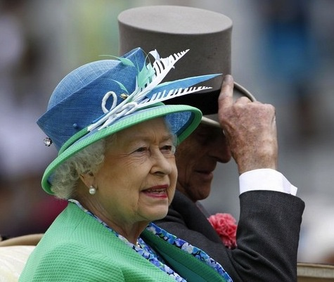 Queen and Prince Philip at Ascot... blue aqua combination hat that accompanies the outfit.