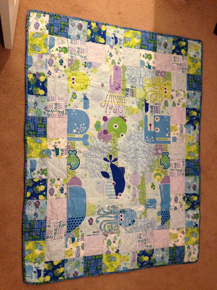 Baby Quilt Patterns Using A Panel : Baby quilt with fish panel quilting Pinterest