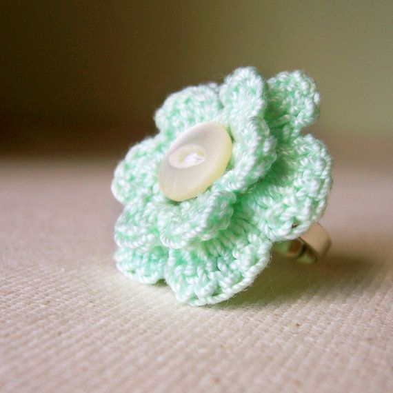 Crocheting Rings : Ring Crochet Flower Mint ? by madeinlowell on Etsy, $14.00
